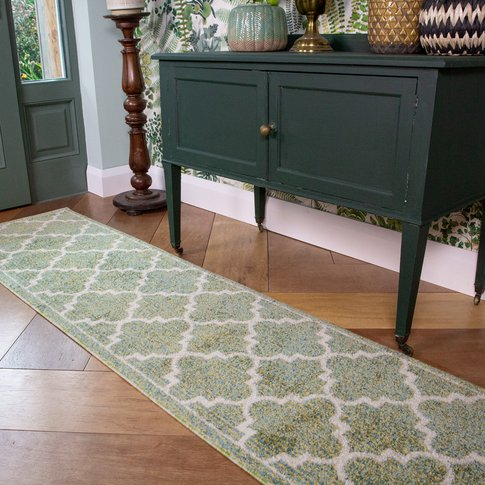 Green Modern Trellis Living Room Runner Rug - Vivid