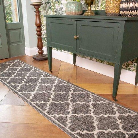Grey Modern Trellis Living Room Runner Rug - Vivid
