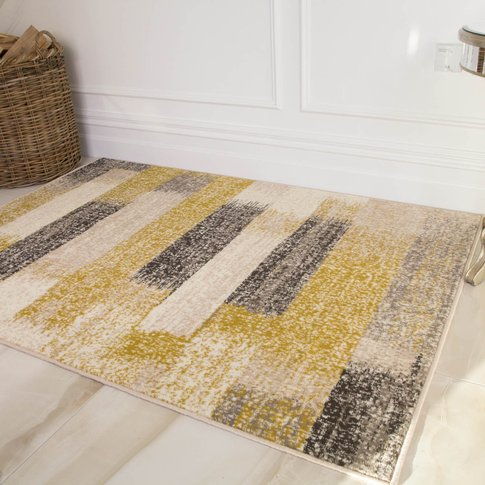 Modern Yellow And Grey Stripe Rug - Milan