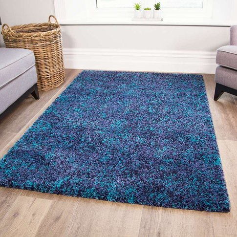 Super Soft Teal Shaggy Rug For Living Room - Murano