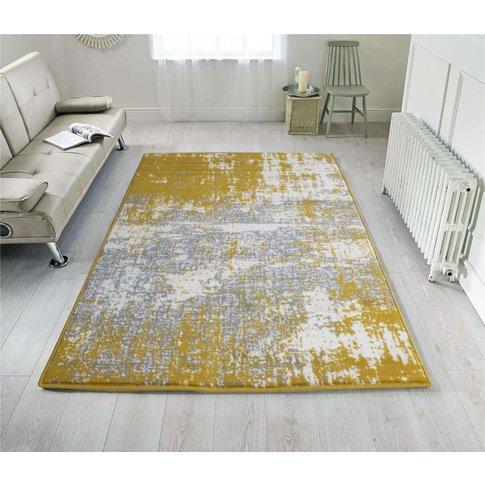 Yellow Grey Distressed Worn Look Living Room Rug - M...