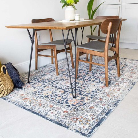 Blue Traditional Distressed Flat Low Pile Area Rug -...