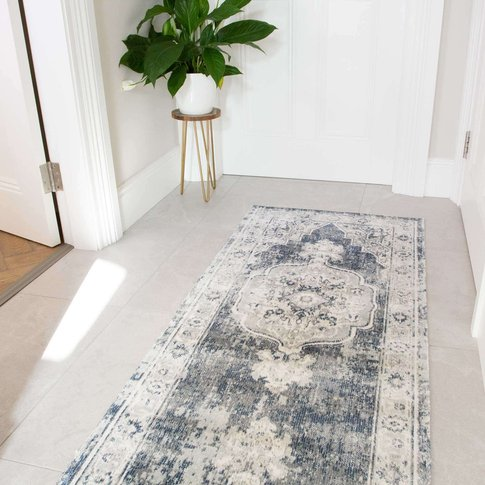 Blue Traditional Distressed Flat Low Pile Hall Runne...