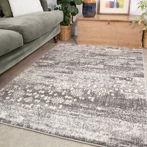 Grey Distressed Pattern Living Room Rug - Bombay