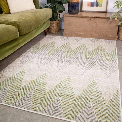 Green Herringbone Living Room Rug - Bombay