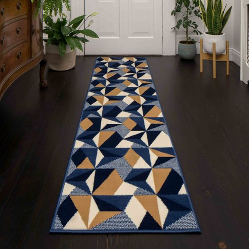 Blue Grey Modern Geometric Hall Runner Rugs - Milan