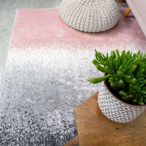 Modern Pink Distressed Striped Living Room Rug - Enzo