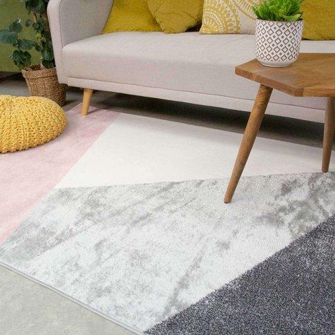 Pink Abstract Geometric Living Room Rug - Enzo