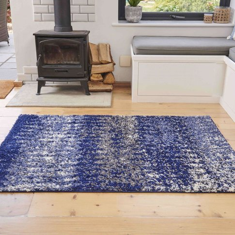 Navy Distressed Textured Shaggy Rug - Florence