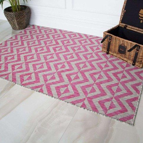 Pink Geometric Outdoor Rug - Habitat