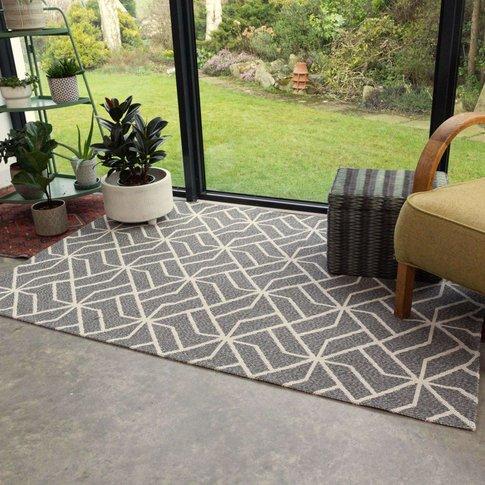 Grey Geometric Woven Rug  - Kendall