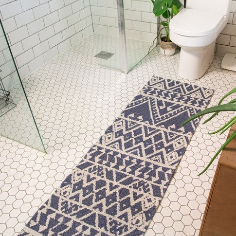 Blue Aztec Tribal Woven Rug - Kendall