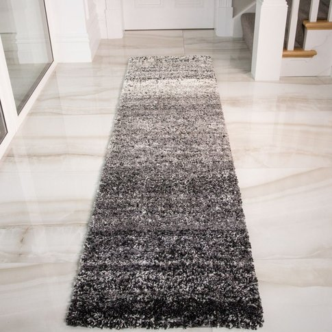 Super Spft Black Stripe Shaggy Bedroom Rug - Murano