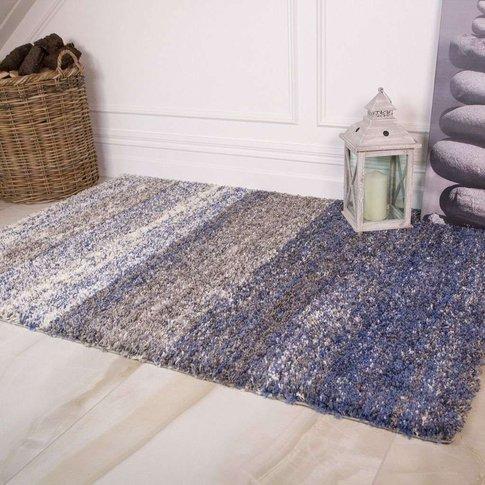 Blue Stripe Shaggy Rug - Murano