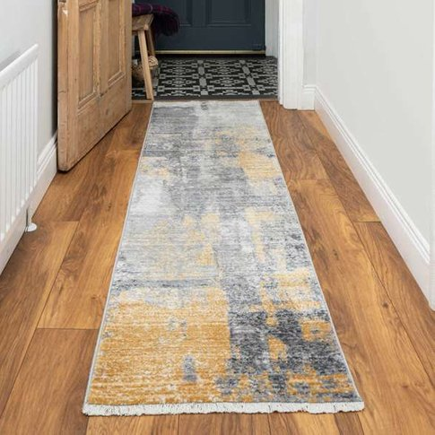 Soft Gold Grey Brushed Effect Distressed Hall Runner...