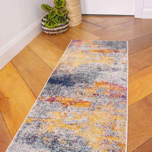 Gold Blue Distressed Living Room Runner Rug - Oscar