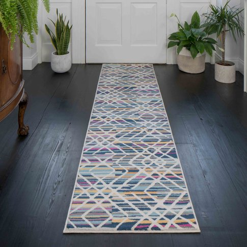 Colourful Geometric Strokes Pattern Runner Rug - Oscar