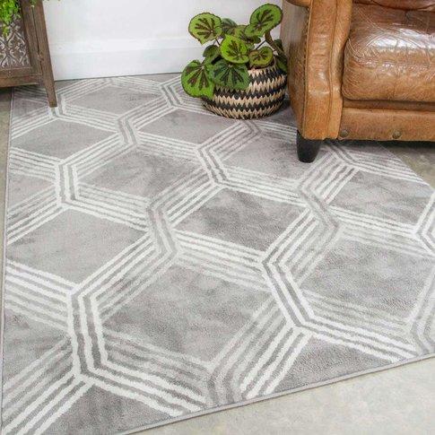 Chic Geometric Grey Living Room Rug - Oscar