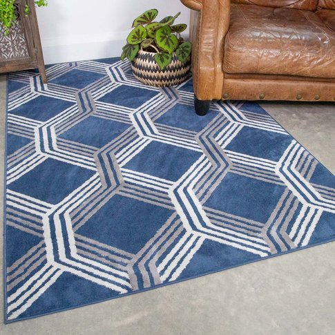 Chic Geometric Navy Living Room Rug - Oscar