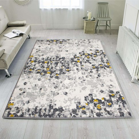 Yellow Distressed Mottle Effect Living Room Rug - Milan