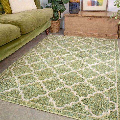 Green Modern Trellis Living Room Rug - Vivid