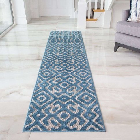 Geometric Teal Outdoor Runner Rug - Zen