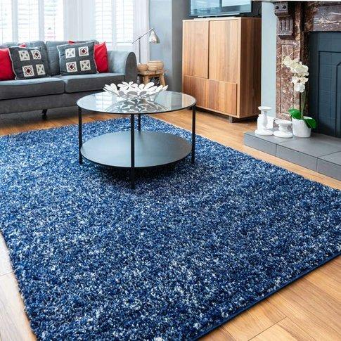 Navy Mottled Shaggy Living Room Rug - Murano