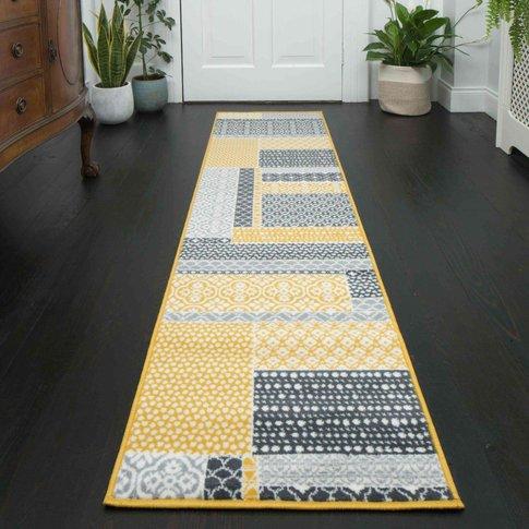 Yellow Grey Patchwork Hallway Runner Rug - Milan