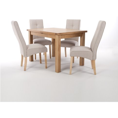 Solid Oak Extendable Dining Table With 4 Cappuccino ...