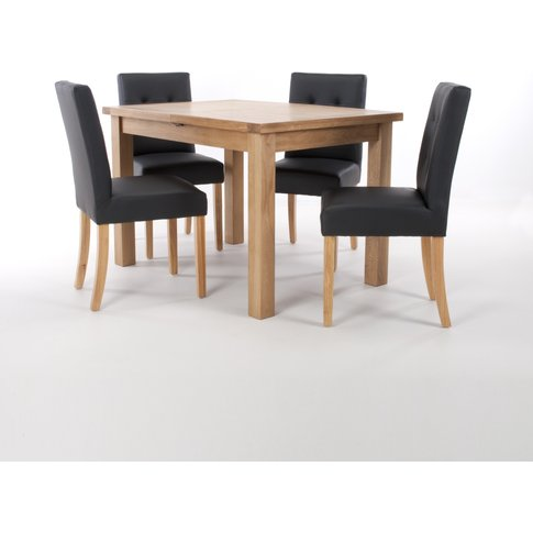Solid Oak Extendable Dining Table With 4 Stitched Back Chairs In Matt Leather Effect Ivory With Natural Legs