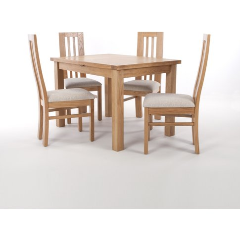 Solid Oak Extendable Dining Table With 4 Natural/Sol...