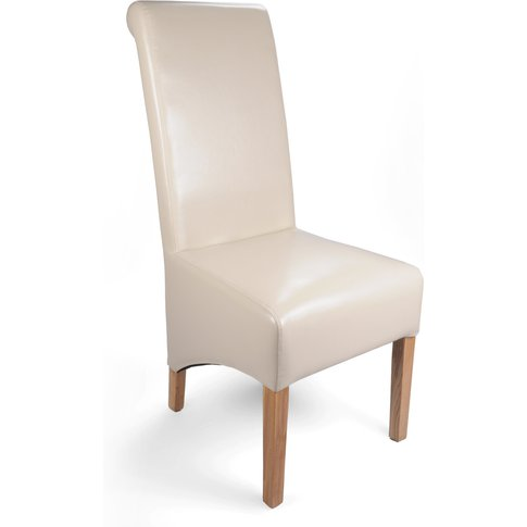 Ivory Leather Match Roll Back Dining Chair Set Of 2
