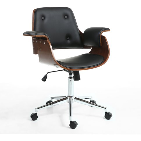 Black Leather Match Walnut Vision Office Chair