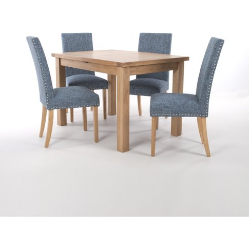 Solid Oak Extendable Dining Table With 4 Stud Detail...