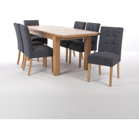 Solid Oak Extendable Dining Table With 8 Stitched Wa...
