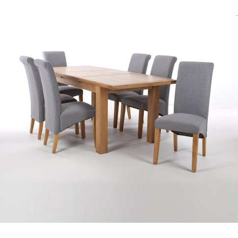 Solid Oak Extendable Dining Table With 6 Scroll Back...