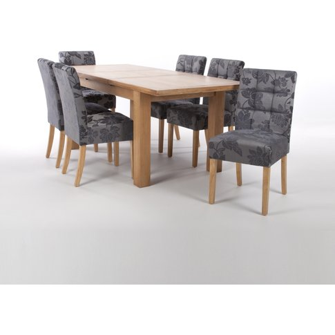 Solid Oak Extendable Dining Table With 6 Stitched Wa...