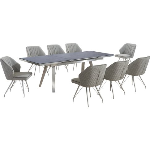 Antique Grey Extendable Dining Table With 6 Wolf Gre...