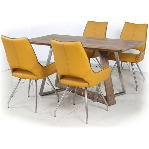 Light Auburn Dining Table With 4 Graphite Grey Leather Effect Chairs With Piping