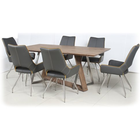 Light Auburn Dining Table With 4 Graphite Grey Leath...