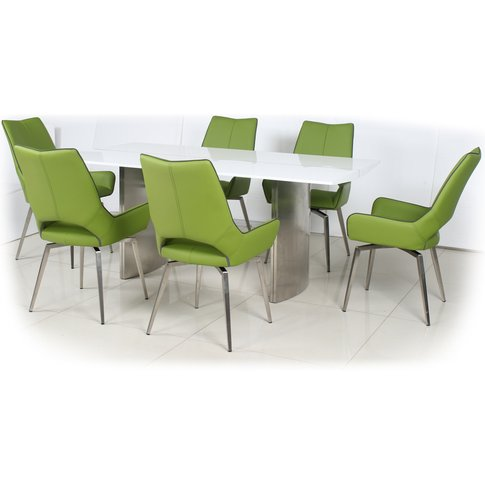 White High Gloss Dining Table With 4 Grass Green Lea...
