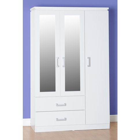 Charles 3 Door 2 Drawer Mirrored Wardrobe In White