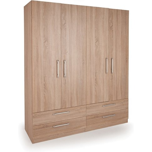 Connect Holborn 4 Door Wardrobe With 4 Drawers - Oak