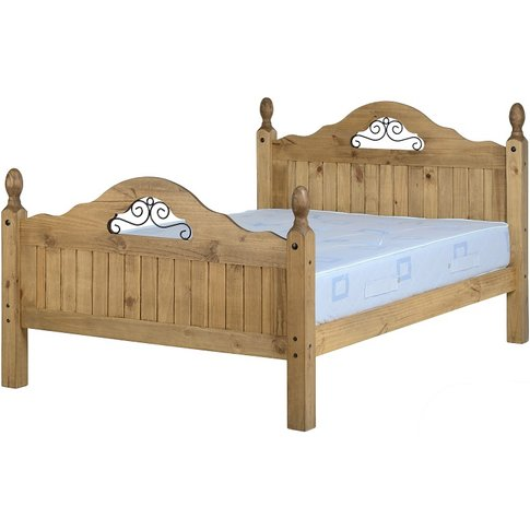 Corona Scroll Double Bed High Foot End In Pine