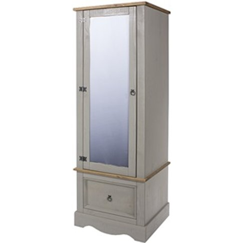 Brazil Grey Armoire With Mirrored Door