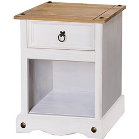 Brazil White 1 Drawer Bedside Cabinet