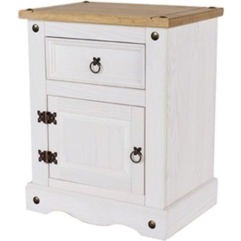 Brazil White 1 Door, 1 Drawer Bedside Cabinet