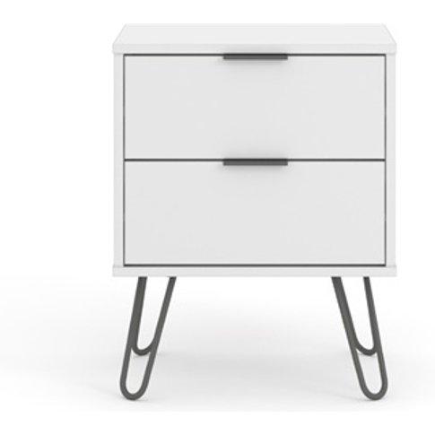 Augusta White 2 Drawer Bedside Cabinet