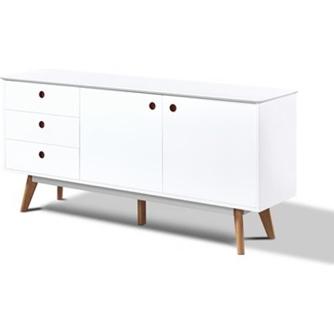 Belgium White Sideboard With 2 Doors And 3 Drawers
