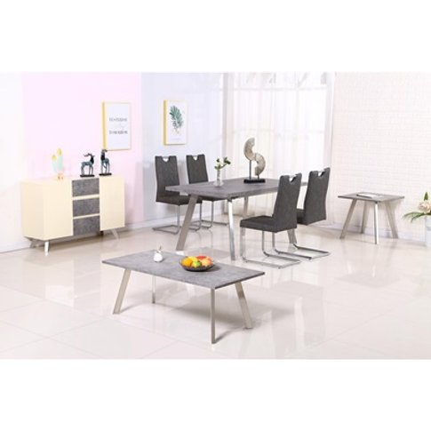 Calipso Dining Table Concrete With Brushed Stainless...